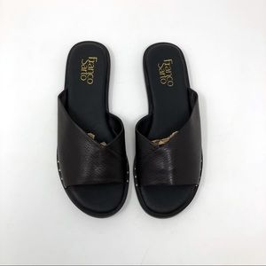 Franco Sarto Riviera Black Leather Studded Slides